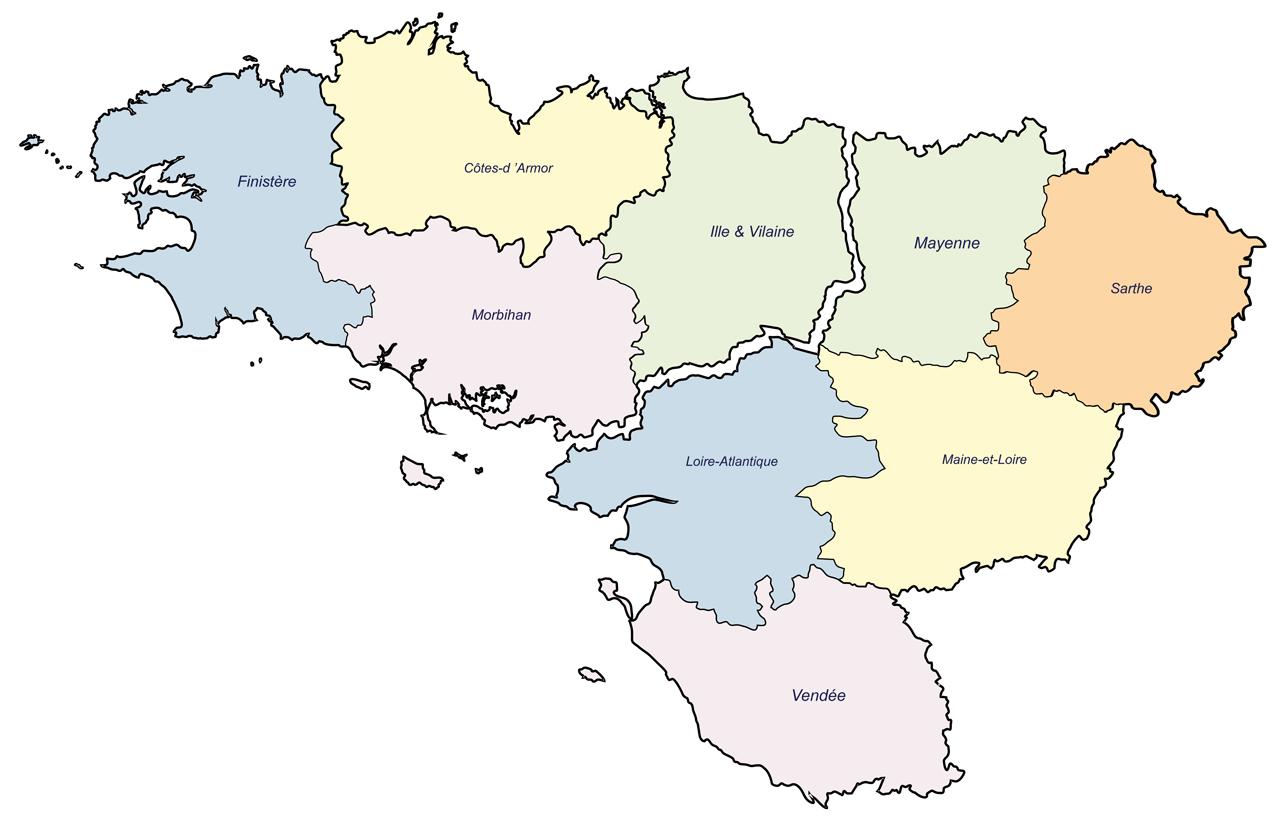 Carte Bretagne Pays De La Loire.Carte Des Pertes Bretagne Et Pays De La Loire